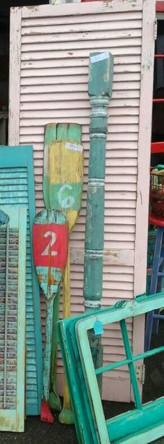 Vintage, painted, distressed, boat paddles, funky junk by tina