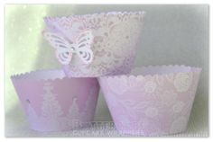 Dusky pink Victorian Lace wrappers with butterfly. The lace or ground can be any colour.  With or without diamanté/butterfly. £3.20 for 6 or £6.00 for 12. + post (This price includes diamanté and butterfly)