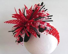 Over the top hair bow with headband Minnie by FiestaKidsBoutique, $8.50