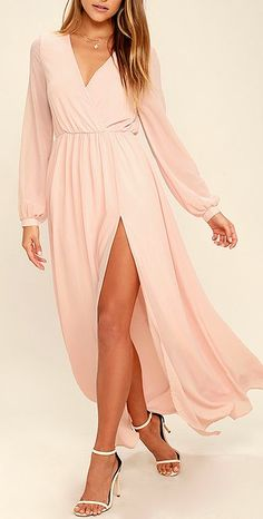 Take a moment to marvel at the sheer beauty of the Wondrous Water Lilies Blush Pink Maxi Dress! Blush pink chiffon shapes a surplice bodice framed by sheer long sleeves. A billowing maxi skirt with front slit falls below the elasticized waist for a stunning finish. #lovelulus