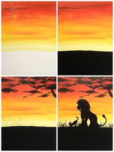 """Evolution of """"African Lions"""" Painted @ Painting with a Twist Miami, using the…"""