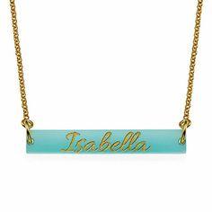 Collar Barra de color Acrílico con el nombre modelo Ágata. Collar con un colgante de de color acrílico en forma de barra y personalizado con el nombre grabado con letras de color oro o plata. (Ref.29049-01)