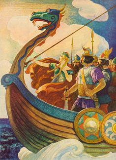 Queen Astrid by the American illustrator N.C. Wyeth (1882–1945). Wyeth did this Wagnerian illustration for the book The World Of Music - Song Programs for Youth (1938).