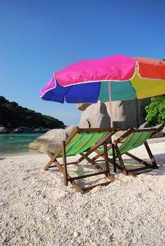 Deck Chairs On A Beach In Thailand Canvas Print Art By Thepurpledoor