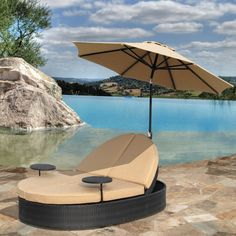 Double Floating Lounge Chair With Umbrella