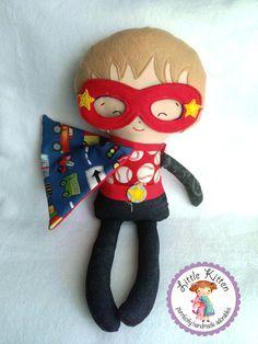 Super Hero Doll Plush  Choose Your Own Fabrics by ShopLittleKitten, $45.00