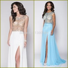 Find More Prom Dresses Information about Elegant Scoop Beaded A Line Side Split Blue Open Back Evening Party Gowns Graduation white and gold prom dresses 2015 plus size,High Quality gown evening,China dresses and evening gowns Suppliers, Cheap dress college from Beautiful In White Wedding Dresses on Aliexpress.com