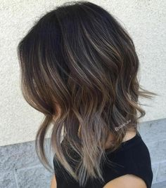 A Line Lob With Gray Balayage