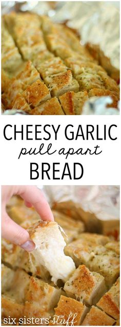 Cheesy Garlic Pull Apart Bread from Six Sisters' Stuff | Cheesy garlic bread appetizer that you can prepare in a matter of minutes! A guaranteed crowd pleaser for your New Years Eve party!