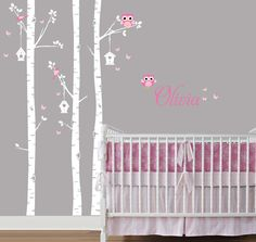 Birch Forest, Birch Tree and Owl Decal, Birch trees, Birch Trees for Nursery, Living Room, Kids or Childrens Room