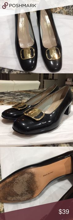 Salvatore Ferragamo patent leather pumps Salvatori Ferragamo vintage pumps. Mark to the side and a little tear at the heel see photo. Black Patent. Salvatore Ferragamo Shoes Heels