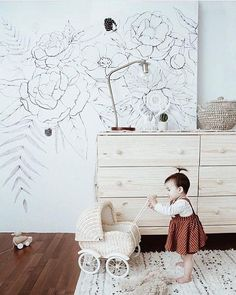 This girls bedroom wallpaper is a beautiful, minimal floral print that will look stunning in a neutral home. This neutral black and white floral design is simplistic yet intricate in its detail, this minimal floral wallpaper will look stunning in your girls bedroom. minimal wallpaper, floral black and white wallpaper, black and white wall decor, kids room black and white wallpaper. #kidsbedroomideas #blackandwhite #floralwallpapers #bohobedroom
