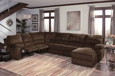 sectional sofas with recliners | Dark Chocalate Micro Suede Contemporary Reclining Sectional Sofa