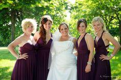 Bridesmaids wearing Henkaa's Sakura Convertible Dresses in Plum Purple. www.henkaa.com