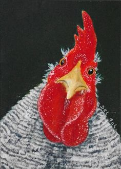 """Here Looking At You, Kid""-Rooster Painting by Cristina Del Sol, painting by artist Cristina Del Sol"
