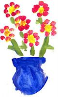 My First flower painting fingerprint project...easy idea for my prek kids!