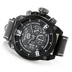 Invicta 50mm Corduba Brink Quartz Chronograph Leather Strap Watch w/ Eight-Slot Dive Case