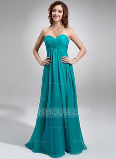 Bridesmaid Dresses - $108.99 - Empire Sweetheart Floor-Length Chiffon Bridesmaid Dress With Ruffle (007016755) http://jjshouse.com/Empire-Sweetheart-Floor-Length-Chiffon-Bridesmaid-Dress-With-Ruffle-007016755-g16755?snsref=pt&utm_content=pt