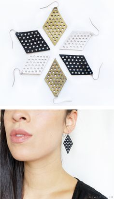 Leather Mesh Diamond Geometric Earrings + + + hand-punched from reclaimed black leather + + + Scandinazn, Vancouver.