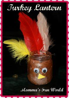 DIY recycled turkey lantern, fun Thanksgiving craft for kids.