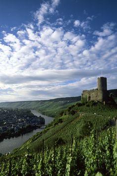 Mosel River, Bernkastel, Landshut Fortress and Vineyards - Rhineland-Palatinate, Germany