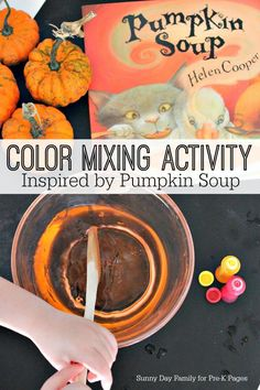A fun color mixing activity to explore color mixing inspired by the book Pumpkin Soup. The perfect science activity for preschool or kindergarten kids at home or in the classroom.