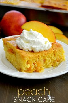 This Peach Snack Cake is incredible! Fast, easy, foolproof and totally delicious, it's bursting with peaches and summer fun.
