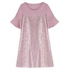 Lace Panel Plus Size Chiffon Dress Plus Clothing, Trendy Plus Size Clothing, Plus Size Fashion, Day Dresses, Plus Size Dresses, Plus Size Outfits, Pink Chiffon Dress, Purple Dress, Dress Lace