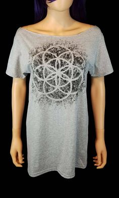 Seed of Life Painted Off the Shoulder Top / Distressed Sacred Geometry Boat Neck Tee by SassysEdgyDesigns on Etsy