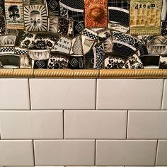 Bathroom remodel, pre-grout. #ceramics #brokenplates #mosaicart #bathroomremodel #subwaytile Mosaic Backsplash, Mosaic Wall, Subway Tile, Mosaics, Animal Print Rug, Plates, Ceramics, Wall Art, Rugs