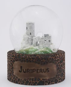 Juriperus manufacture three-dimensional logo, sealed in a snowball. Ruins in the snow. Snowball, Three Dimensional, Snow Globes, Artisan, Logo, Decor, Logos, Decoration, Craftsman
