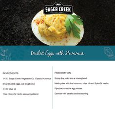 Deviled Eggs with Hummus, made with all new Sager Creek Vegetable Company Hummus. #recipe