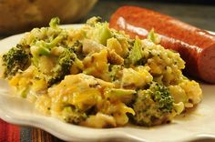 fresh broccoli and rice combined with a homemade mushroom-vegetable cream sauce and cheese