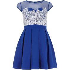 Dorothy Perkins Chi Chi Eyelash lace skater dress (56 CAD) ❤ liked on Polyvore featuring dresses, blue, robe, vestidos, skater dress, blue skater skirt, mesh skater dress, skater skirt and blue dress