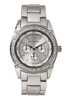 Silver-colored Rhinestone Boyfriend Watch (original price, $20) available at #Maurices