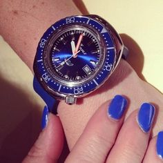 Out for anniversary celebrations tonight and the better half has painted her nails to match her Squale! #womw #watches