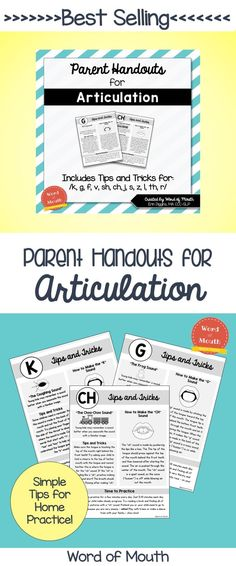 Helpful handouts to give to parents or teachers to help students practice their speech sounds! [Word of Mouth]