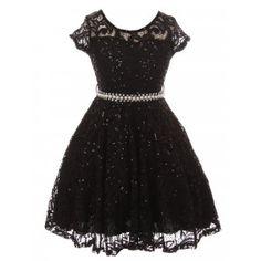 d05b50f4128a Little Girls Black Sequin Adorned Lace Pearl Belt Skater Flower Girl Dress  2-6 Girls