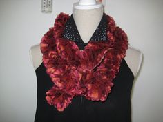 On Sale disc 50  Ruffle Scarf  Knitted Burgundy by MinnieCreation, €19.32