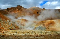 Hot Spring area on Iceland - Mud pools and steam vents. #hot #spring #mud #iceland #steam #nature