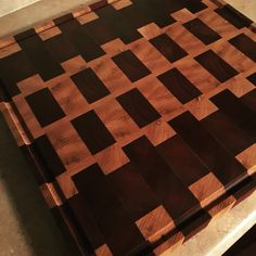 Wood cutting board with ash and Purple Heart, end grain up. #woodcuttingboard