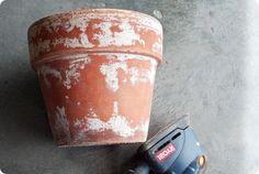 DIY: How to weather terra cotta pots.