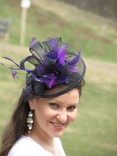 Black fascinator purple flower wedding hat by FascinatorsFirst Tocados 4b8174d8594