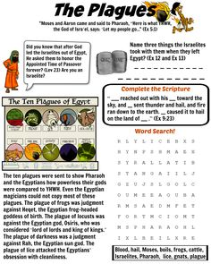 Ten plagues worksheet. Have fun teaching your children about the ten plagues of Egypt. Free download!