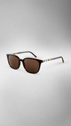 Tortoise shell Check Detail Square Frame Sunglasses - Image 1