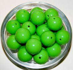 10pcs Chunky Bubblegum Apple Green 20mm loose beads on Etsy, $3.95