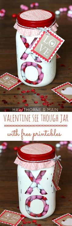 Valentines Day: Valentine's Day See Through Jar {with free printab...