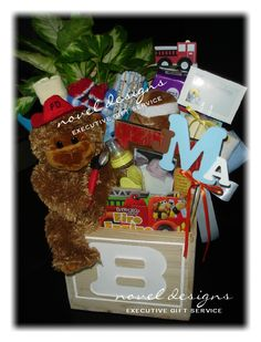 Custom Baby Boy Monkey Fireman Gift Basket Created by Novel Designs Executive Gift Service of Las Vegas. noveldesignsllc.com #Baby #GiftBaskets