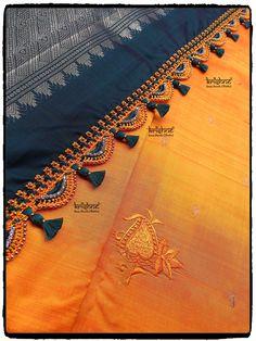 Saree Tassels Designs, Saree Kuchu Designs, Blouse Designs, Blouse Neck Patterns, Hand Embroidery Videos, Saree Border, Diy Tassel, Elegant Saree, Traditional Sarees