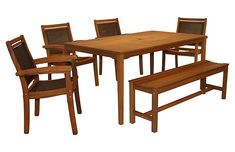 6-Pc Brazilian Dining Set, Brown Now: $959.00 							Was: $1,199.00